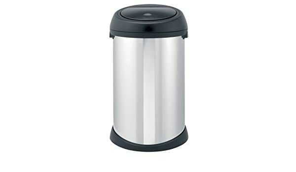 Brabantia Touch Bin 50 Liter Wit.Brabantia Touch Bin 50 L Brilliant Steel With Matt Black Lid