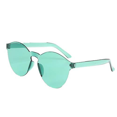 fazry Damen Herren Mode Oval Form Rahmen Bonbonfarben Rahmenlos Transparent Sonnenbrille(Grün)
