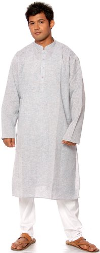 Exotic India Pale-Blue Khadi Kurta PyjamaGarment Size 42