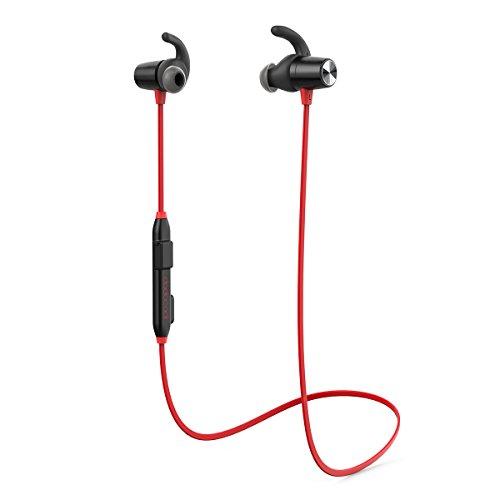 Preisvergleich Produktbild [Verbesserte Version] dodocool Bluetooth Kopfhörer In Ear Wireless Ohrhörer Magnetisch Headset Stereo Sport Kopfhörer,  CVC 6.0 Noise Cancelling,  8 Stunden Spielzeit,  Headset mit Mikrofon für iPhone iPad Samsung und andere Android-Smartphones (Rot)