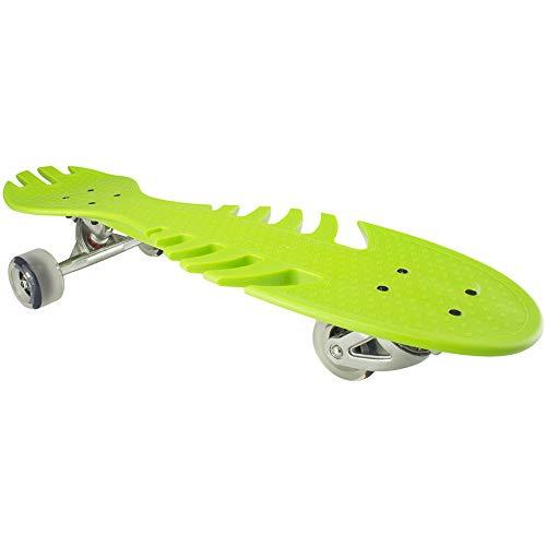 Skateboard Vitality Skateboard der Kinder Drei-vier-fahrbare Fisch-Knochen-Platte Hochelastisches PU-Blitz-Rad Hoch-Intensitätsrad-Skateboard. für Jugendliche Erwachsene Anfänger ( Farbe : Grün )
