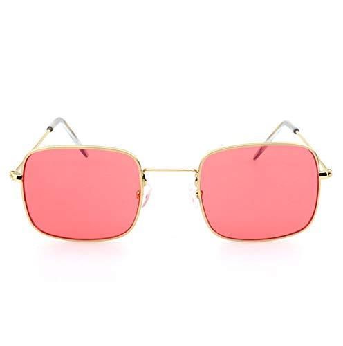HJL Kleine quadratische Sonnenbrille, Flache transparente Sonnenbrille mit Metallrahmen und Federscharnieren, Sonnenbrille für Männer Frauen Aviator Polarisierter Metallspiegel UV 400 Linsenschutz,A