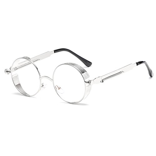 CVOO Vintage Metal Steam Punk Glasses Frame Women Round Clear Lens Glasses Fashion Men Protection Reading Eyewear steampunk buy now online