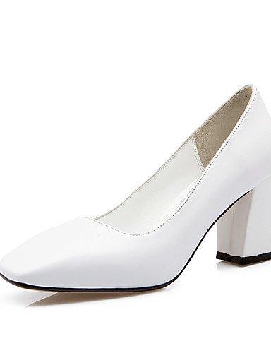 WSS 2016 Chaussures Femme-Bureau & Travail / Décontracté-Noir / Jaune / Blanc-Gros Talon-Talons / Bout Carré-Chaussures à Talons-Cuir white-us8 / eu39 / uk6 / cn39