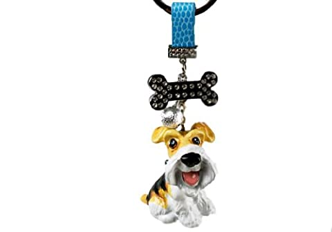 Wire Hair Fox Terrier Mini White And Tan Handmade Key Ring (5cm x 4cm x 3cm)