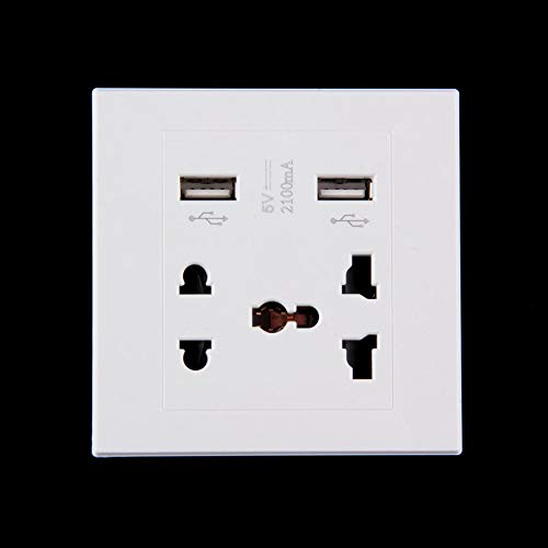 Dual-outlet Wall Plate (HoganeyVan Consumer Electronics To Be Entered 3 Dual USB Port 5V 2100MA Electric Wall Charger Port Dock Socket Power Outlet Electricity AC Power Panel Plate)