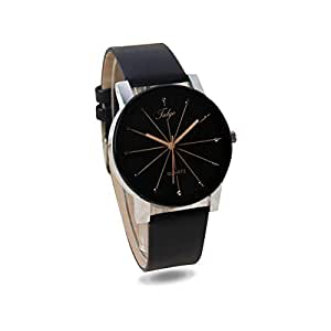 Talgo Analogue Black Dial Black Leather Strape Quartz Movement Women's Watch - 5049