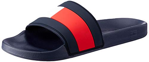 Tommy Hilfiger Essential Flag Pool Slide Herren Sandalen, Navy, 44 EU -