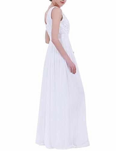 YiZYiF Elegante Damen Kleid Spitzen Abendkleid Cocktailkleid Partykleider Festliche Hochzeit Brautjungfernkleid Chiffon Langes Maxi Kleider Gr. 36-46 Weiß