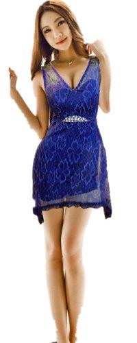 QIYUN.Z Sexy DentelClubwear Mountes Changement Parti Dres Bling Broderie Femmes Clubwear Nuit Robe bleu royal