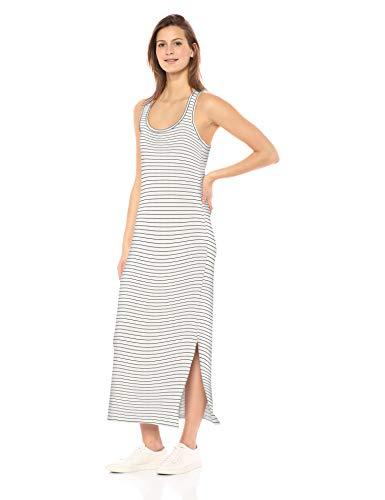 Amazon-Marke: Daily Ritual Damen Maxikleid aus Frottee, Racerback, White/Black Stripe, US S (EU S - M) -