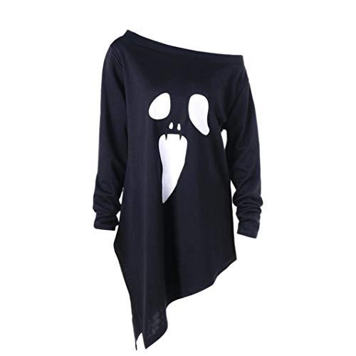 (Halloween MEIbax Frauen Damen Halloween Langarm Geist Print Sweatshirt Pullover Tops Bluse Oberteile Tops)