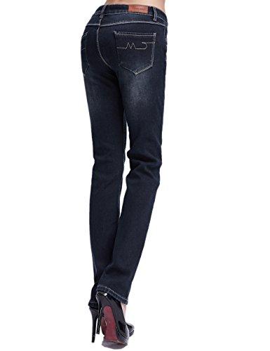 Camii Mia Jeans en Polaire Femme Slim Fit Denim Taille Basse Noir (nouvelle taille)