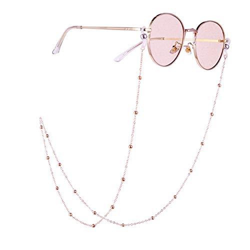 Winkey Brille Kette, Europa und den Retro Brille Kette Tragen Schmuck in Mode Literarischen Damen Perlen Hängenden Hals Brille Schneeketten (Roségold)