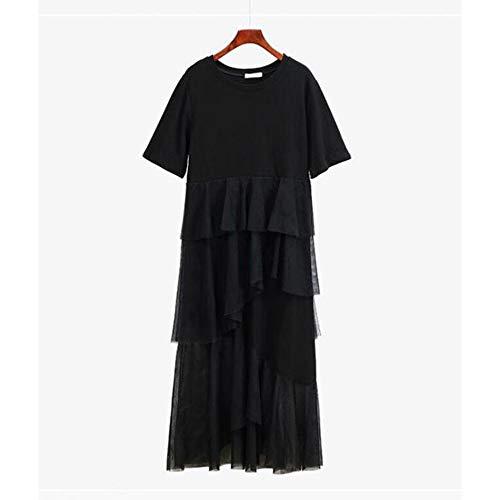 Rocke Baumwolle spleißen mesh Gaze lose unregelmäßigen Langen Rock gefälschte zweiteiliges Kleid (Farbe : Schwarz, Size : L) -