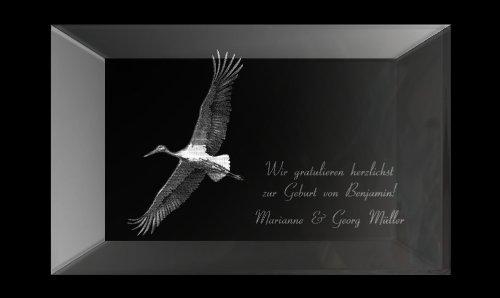 3D Glaskristall XL ideal zur Geburt! Mit einem Storch und Ihrem persönlich eingraviertem Wunschtext!