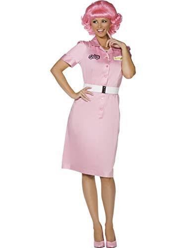 (Luxuspiraten - Damen Frauen Grease Kostüm French Beauty im School und Diner Look mit Kleid und Gürtel, perfekt für Karneval, Fasching und Fastnacht, L, Pink)
