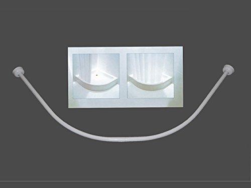 Ekershop Duschvorhangstange Bogenstange Weiss 90x90 oder Kürzbar 80x80 Oval Stange Eckduschstange ovalstange