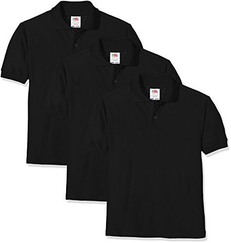 Fruit of the Loom Unisex-Kinder Short Sleeve Poloshirt, Schwarz (Black 36), 14-15 Jahre (3er Pack) -