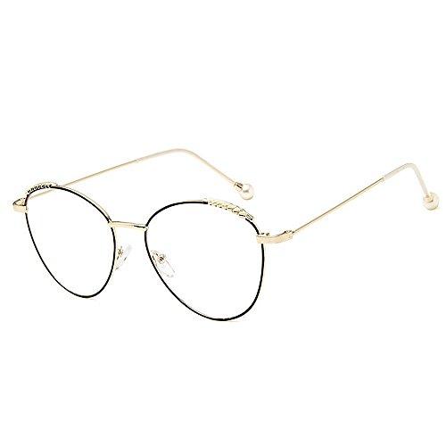 Sonnenbrillen Mode Damensonnenbrillen zarte einfache Perle für Frauen klassische Damen Brillen Studenten Sonnenbrillen künstlerische dünne Metallrahmen UV-Schutz umrandeten ( Farbe : Gold )