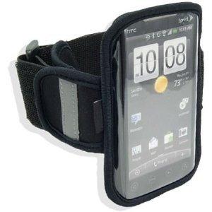 Navitech schwarze Neopren wasserfeste Fitness/Joggen/Lauf Armbandtasche mit Lichtreflector Streifen, für HTC EVO 4G, HTC Sprint, T-Mobile G2, Motorola Droid/Droid 2 Modelle (Sprint Droid Handys)