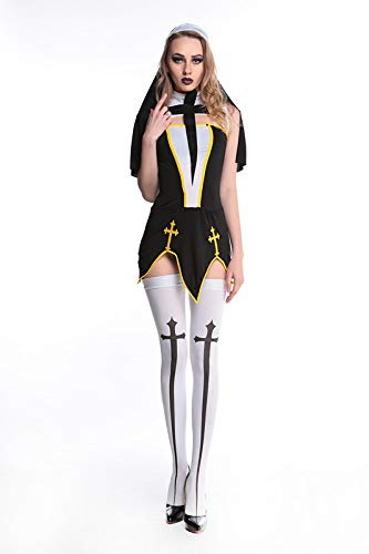 Frech Kostüm Nonnen - Memory meteor Nonne Outfit Kostüme für Frauen, Freches Nonne Kostüm Damen Religiöse Vikare Schwarz Kostüm Outfit