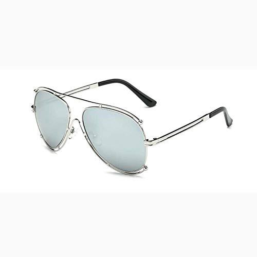 Z&HA Unisex Flieger Sonnenbrille Metall Hohlrahmen Anti UV400 Kröte Brille Kleidung Ornament Brillen Für Mann Und Frau,Silver