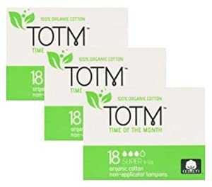 THREE PACKS OF 18 Organic cotton Non-Applicator Tampons (Super) 100% Biodegradable, 100% Organic Cotton, pH Neutral