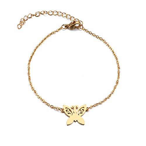 Smnsz bracciale in acciaio inossidabile per le donne tattoo butterfly gold e silver color lover's engagement jewelry