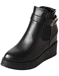 Qiusa - Botas de Piel para Mujer, diseño de Calavera, Color Negro, Negro