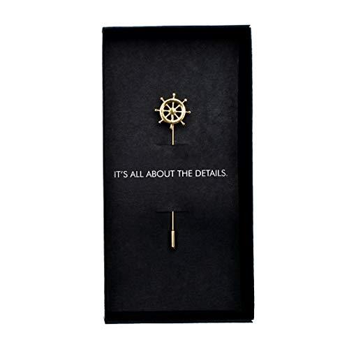 MAKERSONS Gold Steuerrad Anstecknadel für Herren Anzug Brosche Neuheit Accessoire (Und Bow Tie Silber Schwarz)