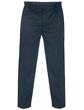 Duke London - Pantalones de tela de gabardina modelo Walis en talla grande para hombre