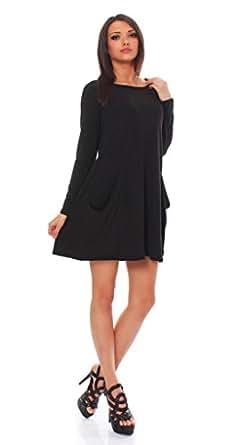 65-14 Tunika Longshirt Damen Minikleid Longshirt Kleid mit Taschen schwarz langarm 2XL