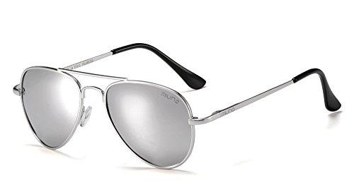 Miuno Kinder Polarisiert Sonnenbrille verspiegelt Polarized für Jungen und Mädchen Etui 3025k (Silberverspiegelt/Silber)