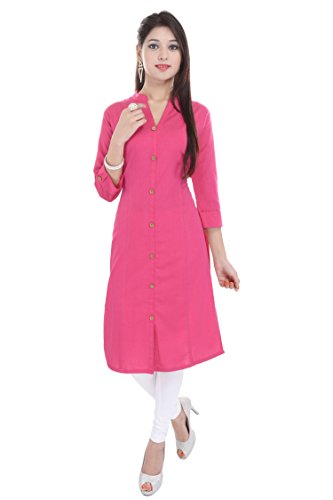 Saubhagyawati Fashions Women Solid Wood Button 100% Cotton Pink 3/4 Folding Sleeve Chinese Collar Knee Length Kurti (SFK3017-L)