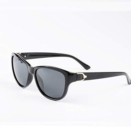 YYXXZZ Sonnenbrillen Cat Eye Polarized Sonnenbrillen Damen Lady Sun Glasses Female Driving Eyewear, schwarz