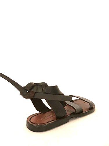Sandali in pelle tacco basso artigianali made in italy marroni MainApps Marrone