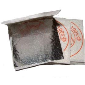 Lote de 10 hojas DE PLATA, alimentaria 40 X 40 mm, 100% comestible PUREZA 999/1000