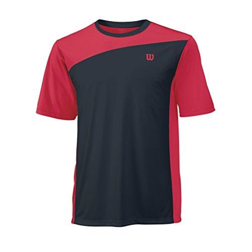 WILSON Herren T Shirt Rush Colorblock Crew Tennisbekleidung Neon Red Color L - Performance Colorblock Mesh Polo