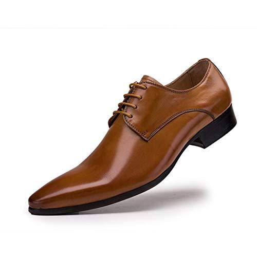 Zxcer Smoking Schuhe Lackleder Hochzeit Schuhe für Männer Cap Toe Lace up Formale Business Oxford Schuhe (Farbe : Braun, Größe : 37) Cap Toe Lace Up Cap