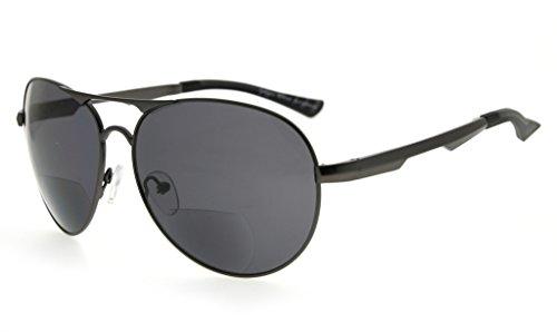 Eyekepper Bifokal Sonnenbrille Pilot Stil Bifokal Sun Leser Draussen Lesung Gläser(Gunmetal, 3.00)