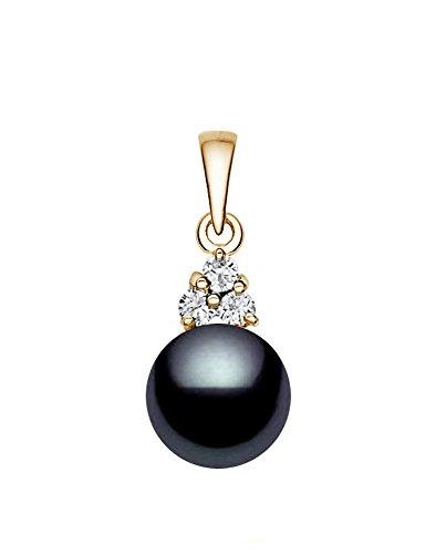 14K Or japonais de qualité AAA Noir Foncé Pendentif Perle de culture Akoya Diamant Blanc