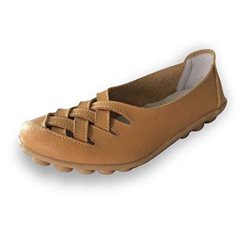 BHYDRY Frauen einfarbig hohle Rindfleisch Sehne unten Mutter Schuhe einzelne Schuhe fläche Sandalen Erbsenschuhe(Gelb,44)
