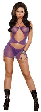 Magic Silk Seide Shorts (Magic B425PPLLRG Silk Twilight - Kleid mit doppeltem Ring und String Tanga - Reizwäsche - Damen - Kleider - 2XL, 1 Stück, violett)