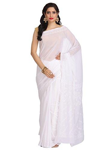 ADA Handcrafted Lucknow Chikankari Faux Georgette Saree Regular Wear A191787