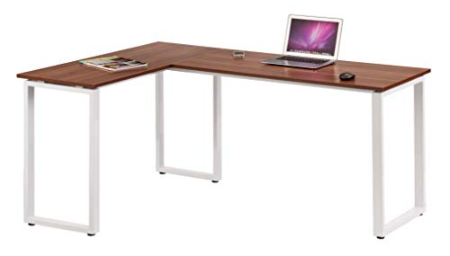 Hjh Office 674120 Bureau D Angle Workspace Basic Noyer Blanc Table Pour Ordinateur Aspect Bois Structure Acier 165 X 120 Cm