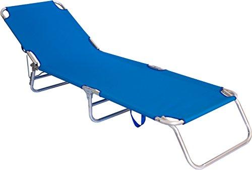 Lettino richiudibile alluminio trasportabile blu prendisole spiaggina mare piscina