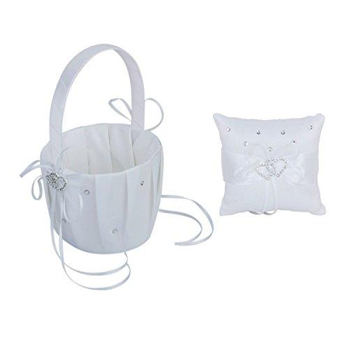 Pixnor Cesto di fiori matrimonio e cuscino anello, cesto di fiori delicati cristalli strass Decor con 20 * 20cm anello cuscino per festa di nozze