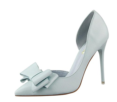 Primavera Estate donne pompa i pattini dolce Bowknot con tacco sottile di colore rosa scarpe tacco alto a spillo a punta cava Blue