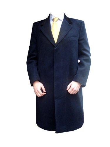 Clermont Direct Bleu Marine Cachemire Manteau avec col en Velours - fabriqué au Royaume-Uni - Bleu - Small